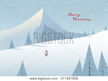 Winter mountain landscape scenery walking Santa Claus with his bag full of presents in deep snow with pine trees surrounding him and blue sky.