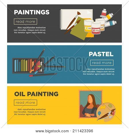 Artist painting tools and artistic materials banners for art workshop. Vector creative masterpiece picture drawing by oil or watercolor paint brush, pastel or pencil sketch paper sheets