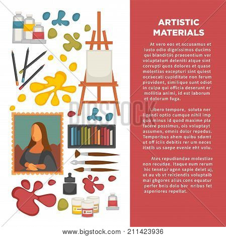 Artist painting tools and artistic materials poster. Vector icons of color oil or watercolor paint, brush or pencil and masterpiece picture drawing, pastel and canvas on easel