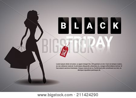Black Friday Sale Banner Design With Silhouette Female Holding Shopping Bags On Background Holiday Discount Poster With Copy Space Vector Illustration