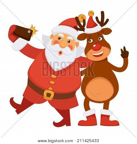 Santa Claus and Polar deer in hat with gold bell and red boots make selfie on smartphone with flash isolated cartoon vector illustration on white background. Fairy Christmas characters take photo.