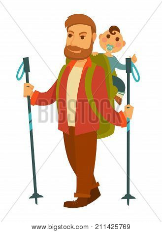 Father goes hiking with baby son and huge backpack isolated cartoon flat vector illustration on white background. Bearded man with two sticks, heavy rucksack and little son with pacifier walk by foot.
