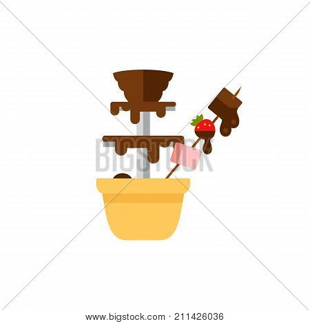 Icon of chocolate fountain. Fondue, device, delighting guests. Chocolate dessert concept. Can be used for topics like dinner party, event, melted chocolate