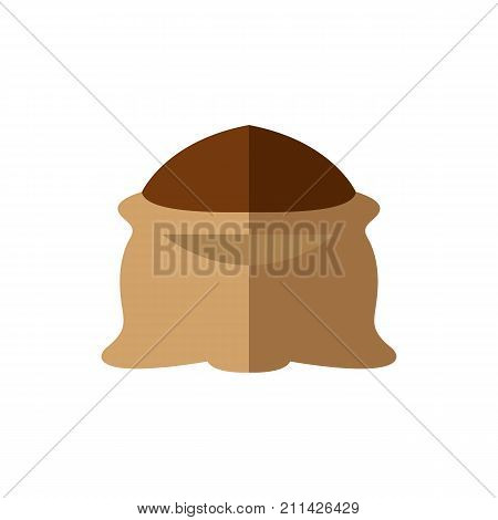 Icon of cocoa powder. Sack, abundance, cocoa mass. Chocolate dessert concept. Can be used for topics like buying in bulk, chocolate production, bakery