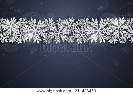 Christmas and new year dark blue banner with christmas silver glittering snowflakes on dark background. Merry Christmas greeting card
