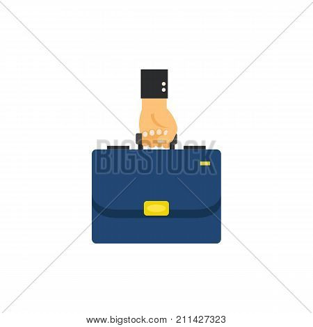 Icon of hand holding briefcase. Entrepreneur, diplomat, accessory. Business education concept. Can be used for topics like business, luggage, success