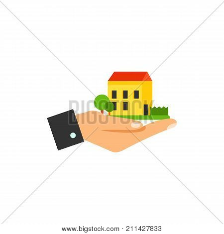 Icon of paper maquette. Hand holding house, dream house, buying house. Engineering concept. Can be used for topics like home insurance, real estate, property management