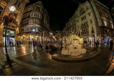 BELGRADESERBIA-OCTOBER 20 2017:Knez Mihailova street on night a pedestrian zone and shopping center. One of the oldest and most valuable monumental complexes of the city built at the end of 1870s.