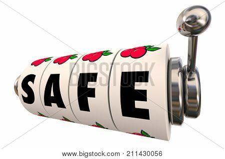 Safe Slot Machine Dials Wheels Safety Security Risk 3d Illustration