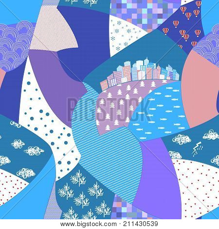 Vector abstract hand drawn seamless patchwork pattern with striped ornaments, stylized flowers, dots, plants and city. Cute snippet background