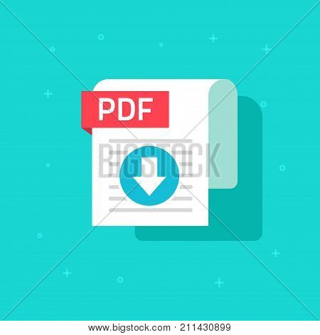 PDF download icon vector symbol, flat design text document or file downloading with arrow and paper sheet doc isolated