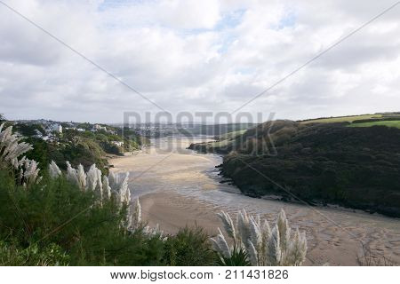View up the river Gannel near Newquay in Cornwall