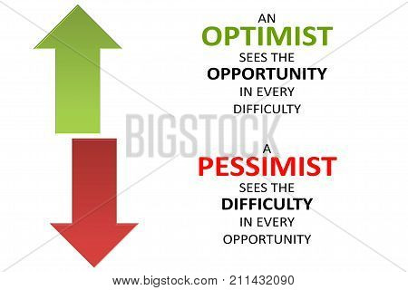 Pessimists - Optimists, Difficulty - Opportunity On White Background
