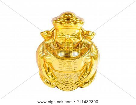 Chinese golden holding traditional China gold coin or money with a word meaning rich, wealth or prosperous isolated on white background (Clipping path included) as holy Chinese New Year decorative ornament