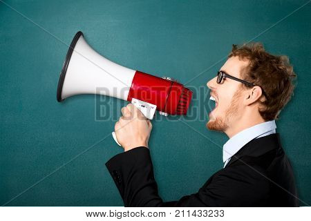 Business one man megaphone business success solid view