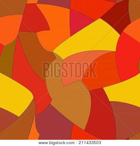 Vector abstract hand drawn seamless patchwork pattern with snippets in autumn palette. Red, orange, and yellow pieces background