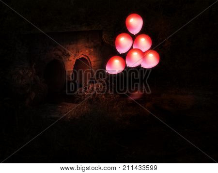 Red Balloon And Culvert