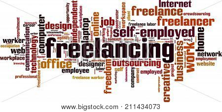 Freelancing word cloud concept. Vector illustration on white