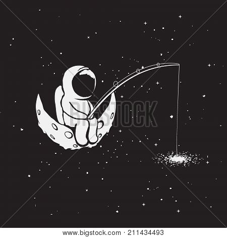 Astronaut sits on Moon and catches a stars through fishing rod from galaxy.Childish vector illustration.Hand drawn prints design.