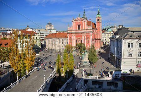 View on Presern square in the center of Ljubljana, Slovenia