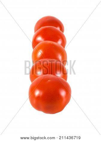 Fresh ripened truss tomatoes isolated on white background