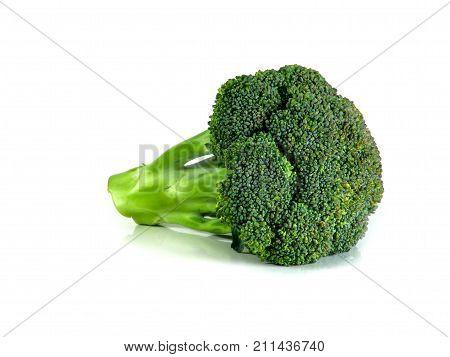 Fresh organic broccoli isolated on white background. close up