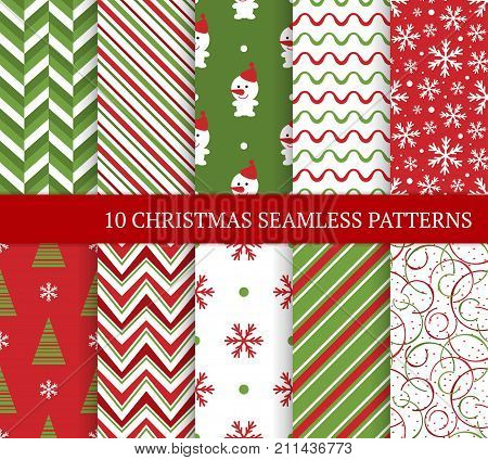Ten Christmas different seamless patterns. Xmas endless texture for wallpaper web page background wrapping paper and etc. Retro style. Snowflakes zigzag christmas tree and snowman.