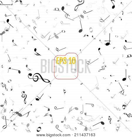 Vector Falling Notes Background. Frame Of Treble Clefs, Bass Cle