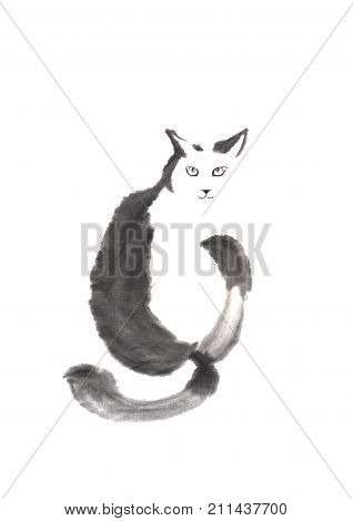 Cat looking back Japanese style original sumi-e ink painting. Great for greeting cards or texture design.