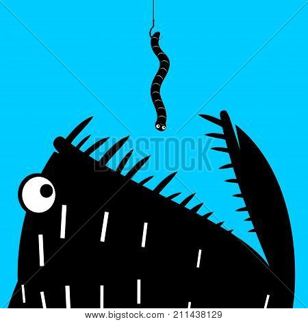Print poster or icon sticker. A predatory fish eats the worm on the hook. Fishing