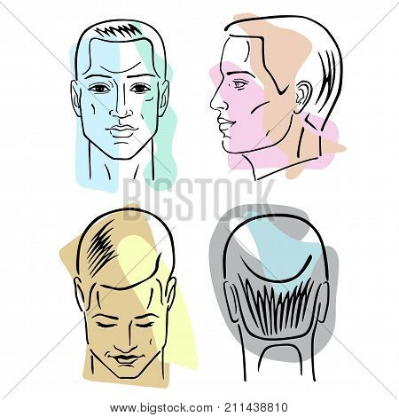 Man hairstyle head set (front back side views) vector illustration isolated on white background