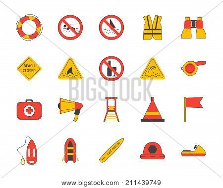 Cartoon Lifeguard Signs Outline Color Icons Set Security Assistance Life Concept Flat Design Style. Vector illustration of Sign Lifesaver