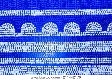 Blue Tile Mosaic Texture. Vibrant Mosaic Of Tiles As A Background Image. Blue Mosaic Background.