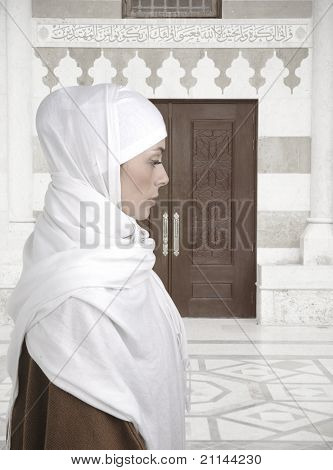 Muslim traditional woman standing outdoor