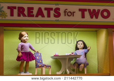 Dolls In The American Girl Place Store, In New York City.