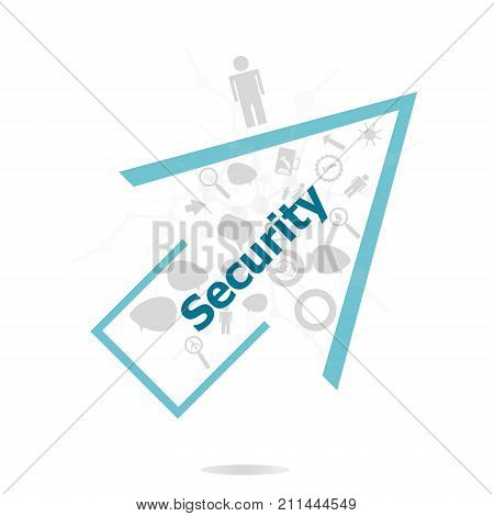 Text Security. Protection Concept . Data Protection And Secure Elements Inforgaphic Set
