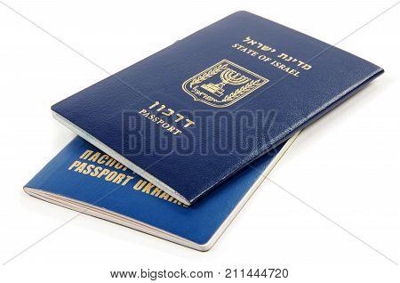 Israel and Ukraine passport on the white