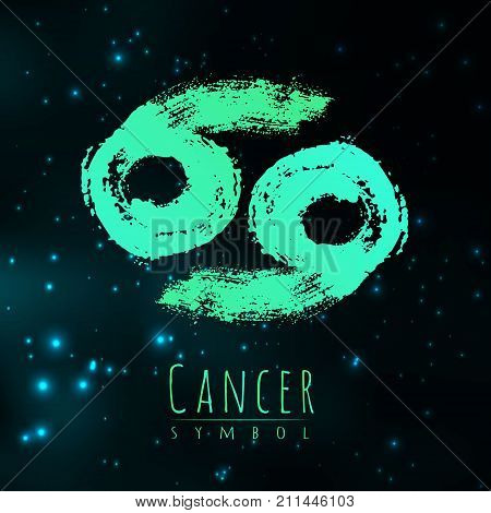 Vector abstract zodiac sign Cancer on a dark cosmic background of the space with shining stars. Nebula in form of zodiac sign Cancer . Abstract brush stroke sign. Bright modern gradient symbol. Logo.