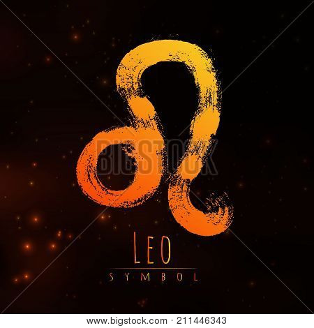 Vector abstract zodiac sign Leo on a dark cosmic background of the space with shining stars. Nebula in form of zodiac sign Leo . Abstract brush stroke sign. Bright modern gradient symbol. Logo.