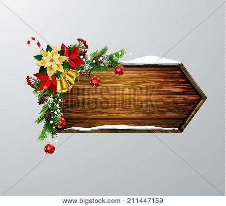Vector realistic illustration of wooden christmas message board with christmas tree and decorations