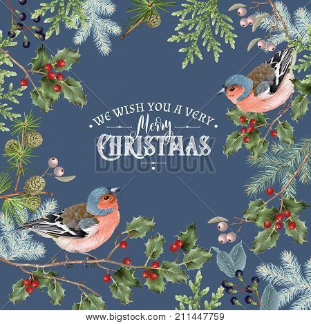 Vector vintage Christmas frame with winter forest branches and birds. Highly detailed winter design for greeting card, party invitation, holiday sales. Can be used for poster, web page, packaging