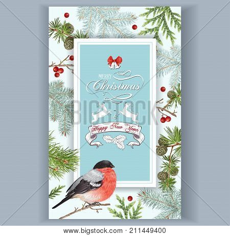 Vector vintage card with forest branches, bullfinch and Christmas banner with deers and bells. Highly detailed festive design for greeting cards. Can be used for poster, web page, packaging