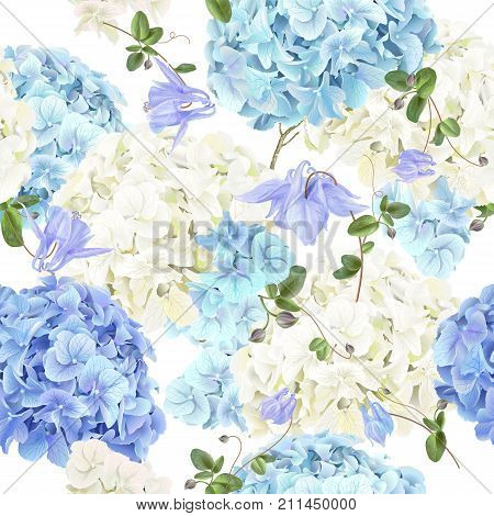 Vector seamless pattern with blue and white hydrangea flowers on white background. Floral background design for cosmetics, perfume, beauty products. Can be used for greeting card, wedding invitation