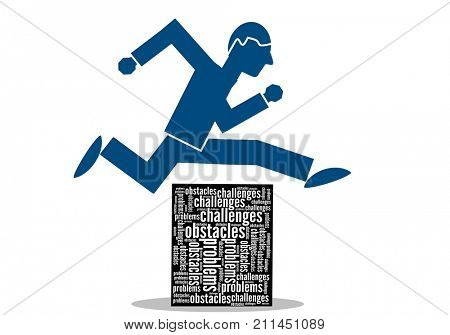 Businessman jump over problems, obstacles and challenges