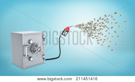 3d rendering of a retro safe box connected to a petrol pump that lets out many dollar bills on blue background. Spending all savings. Petrol prices. Transportation costs.