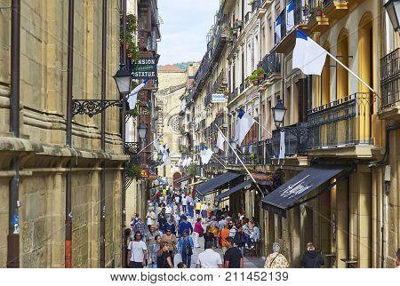 31 De Agosto Street In San Sebastian Old Town. Gipuzkoa.