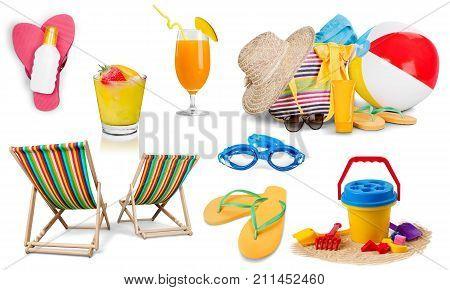 Chairs beach flops flip flops blue background ball