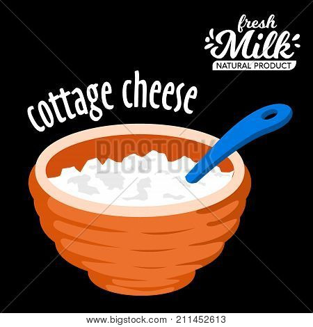 Homemade cottage cheese in a bowl vector icon. cottage cheese icon