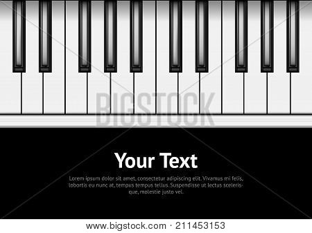 Piano Keyboard on a Dark Background Card Poster Sound Music Classic Instrument Concept . Vector illustration