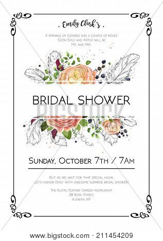 Bridal shower vector boho art wedding watercolor Invitation card design with light pink floral garden rose Ranunculus flowers fern green leaf hand drawn line feathers & bead. Graphic background frame